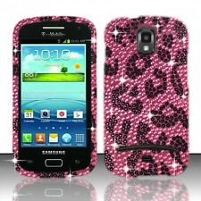 Samsung Galaxy S Relay 4G Crystal Diamond BLING Hard Case Cover Hot Pink Leopard