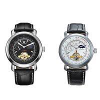 Herren PU Leder Luxus automatische mechanische Armbanduhr wasserdicht Q8A4