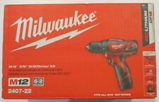 Milwaukee 2407-22 M12 12V Cordless Li-Ion 3/8 in Drill/Driver Kit BRAND NEW SEAL