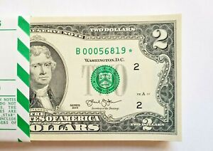 2013 Two Dollar Star Note US Federal Reserve $2 Bill UNC Crisp - Free shipping