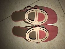 Hermes 100% Auth Galet Chaine D'ancre Suede Flat 38 Sandals