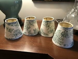 PIERRE DEUX CHANDELIER LAMPSHADES..VTG 1980's..GREEN TOILE..SET OF 4...TIMELESS