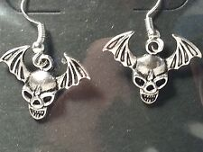 Silver Tone Bat Wing Skull Drop Style Fashion Earrings Gothic Halloween -Jewelry