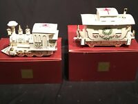 Lenox China Holiday Junction Train Engine Caboose Christmas Cookie Jar 24K Gold