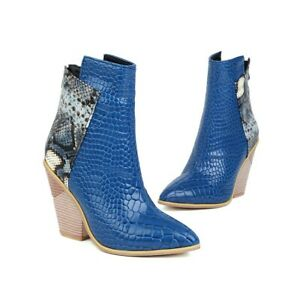 Womens Fashion Two Tone Embossed Block Heel Bootie Ankle Boots Shoes Plus SZ SUN