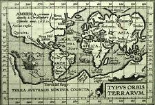 Carte mappemonde planisphere TYPUS ORBIS TERRARUM de Abraham ORTELIUS 1601