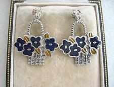Unusual Deco Inspired Silver & Enamel Flower Basket Drop Earrings