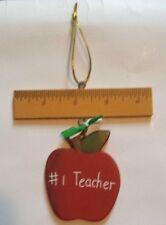 #1 TEACHER APPLE RULER WOODEN SIGN WALL DECOR PLAQUE HOME DECOR ORNAMENT - NEW
