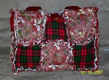 Poinsettia Gingham Red Green Holiday Shimmer Rag Quilt Diaper Bag Tote Purse