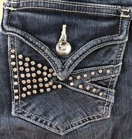Vigoss Womens Bootcut Jeans Embellished Denim Stretch Blue Sz 0