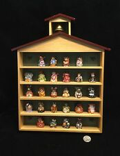 Franklin Mint Animal Thimble Set Wooden School House Display.            #2093