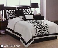 7Pc Queen Size Modern White Black Floral Flock Satin Comforter Set Bed in A Bag