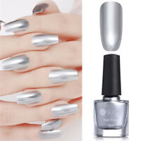 6ml Silver Metallic Chrome Effect Mirror Nail Polish Varnish  UR SUGAR