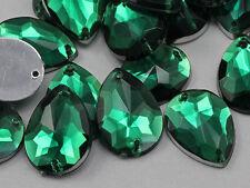 18x13mm Green Emerald CH18 Teardrop Flat Back Sew On Craft Gems 50 PCS