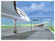 BRITISH AIRWAYS (BA) CONCORDE Airliner Aircraft Stamp Sheet (1988 Bhutan)
