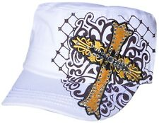 Women's Cadet Hat Rhinestone Yellow Embroidered Cross New Design Hat Cap White