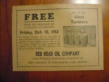 Red Head Oil Company 1952 Free Giveaway Advertisement Coupon Tumblers Lady Drive
