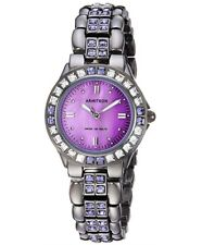 Armitron Women's Purple Crystal Accented Gunmetal Bracelet Watch Christmas Gift