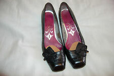 Sachelle Black Leather Heels Shoes Size 38