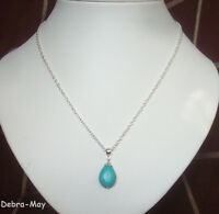 """Turquoise Stone Teardrop Pendant 18"""" Chain Necklace in Gift Bag"""