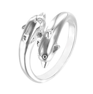 HOT Fashion Jewelry Men/Women 925 Sterling Silver Plated Dolphin Opening Ring TT