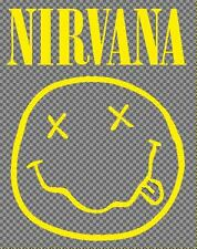 Nirvana music decal for cars, computers or skateboard. Yellow sticker