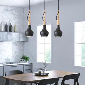 Wood Pendant Light Black Lamp Kitchen Chandelier Lighting Modern Ceiling Lights