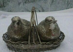 Vintage Silver Plated Birds In Woven Basket  Salt & Pepper set