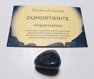 Blue Dumortierite Tumblestone with free Organza bag And Crystal Card