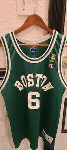 VTG 90s NBA Champion Boston Celtics Bill Russell 6 Jersey 40 Gold Logo 50th Ann