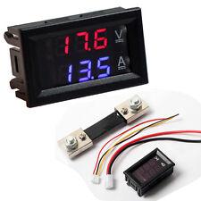 100V 100A DC Digital Voltmeter Ammeter Blue Red LED Amp Volt Meter Current Shunt