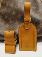 Auth LOUIS VUITTON Large Leather Luggage ID Tag Name Tag and Poignet Set [145