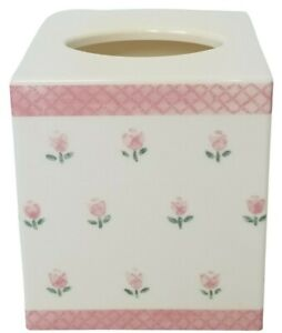 Croscill Rosebuds Plastic Tissue Box Cover Square Cube White Pink Floral AS IS