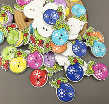 25X Christmas decorations Mistletoe Sewing scrapbooking Wooden buttons 25mm
