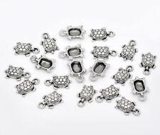 LOT de 12 PENDENTIFS TORTUES ARGENTES 15x10mm perles breloque SANS NICKEL bijoux