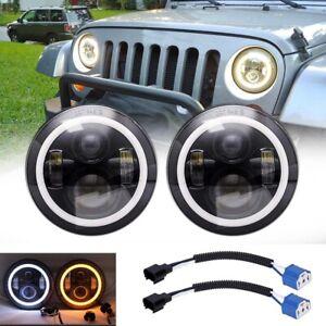 "2x 7"" Inch Round LED Headlights Halo Angle Eyes For Jeep Wrangler TJ CJ JK LJ"
