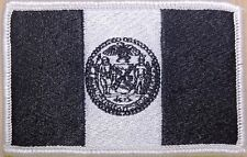 New York City Flag Iron-On Patch Morale Tactical Black & White Version #20