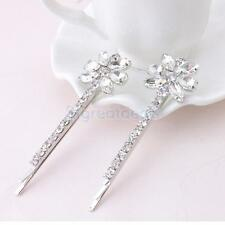 2pcs Diamante Flower Crystal Hair Grips Barrette Hair Clips Slides Silver