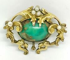 RARE! ANTIQUE VICTORIAN NOUVEAU 10K GOLD GREEN TURQUOISE PEARL PIN BROOCH