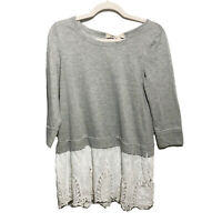 Anthropologie A'reve Gray 3/4 Sleeve Sweater Lace Trim Blouse Size Small S