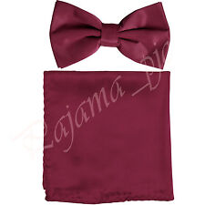Men's Solid Satin Bow tie and Pocket Square Hanky Formal Party Prom Burgundy
