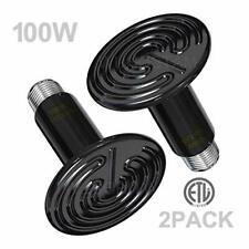 Wuhostam 2 Pack 100W Infrared Ceramic Heat Lamp,Black Reptile Emitter Black