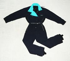 DUBIN VTG 80s Exc. Womens All in One Thermal Ski Suit,IT46,UK14,F44,Black /Blue