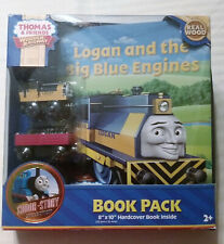 Thomas & Friends Wooden Railway Train Logan & The Big Blue Engines Book Pack NIB