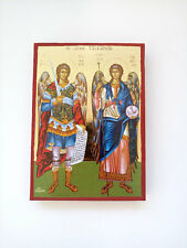 Archangels Michael and Gabriel large Goldprint byzantine orthodox icon handmade