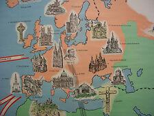 Wandkarte Welt Christen Religionsunterricht 236x158cm vintage Christianity~1960