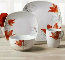 16 Piece Dinnerware Autumn Set Square Dishwasher Freezer Microwave Safe Ceramic
