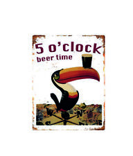 11053 5 o'clock beer time metal wall plaque sign