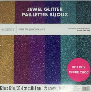 """Jewel Glitter"" 12"" x 12"" Scrapbooking Card Stock Paper Pad by Recollections"