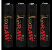 FOUR New Clipper Raw Black Gold Full Size Refillable Lighters